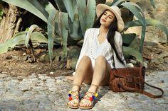 Full look: http://www.l-ace.com/  Ootd Bohemian summer sandals pompom style boho chic
