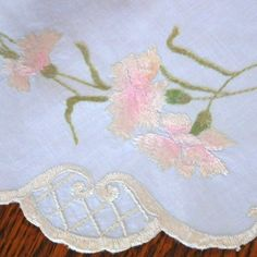 Antique Victorian Society Silk Embroidery Carnation Flowers Doily of Centerpiece