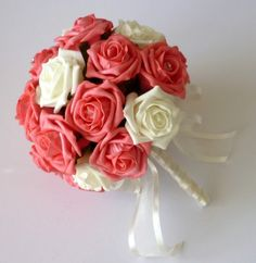 Artificial Brides Bouquets - Coral and Ivory Bride's Bouquet - Wedding Flowers Posie Coral Wedding Flowers, White Roses Wedding, Rose Wedding Bouquet, Bridesmaid Flowers, Bride Bouquets, Rose Bouquet, Coral Bridesmaids, Flower Bouquets, Silk Flowers