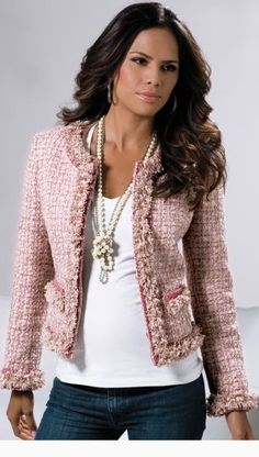 I think Chanel& jacket is the most beautiful jacket a woman can wear. - I think Chanel& jacket is the most beautiful jacket a woman can wear. Look Fashion, Fashion Outfits, Womens Fashion, Fashion Ideas, Chanel Style Jacket, Chanel Tweed Jacket, Pink Tweed Jacket, Mode Chanel, Boucle Jacket