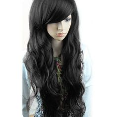 Free shipping Fashion synthetic hair wigs Long curly Big wave Black,... ❤ liked on Polyvore featuring accessories, hair accessories, hair and long hair accessories