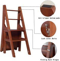 Ladder Chair, Kitchen Step Stool, Minimal House Design, Wood Steps, Vanity Stool, Folding Stool, Home Decor Furniture, Furniture Design, Solid Wood