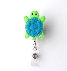 Timmy Turtle Felt Badge Holder Cute Badge Reel by BadgeBlooms