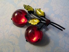 Vintage Austria Cherry Fruit Pin Brooch Green Carved Leaves Luminous Glass Black #Austria