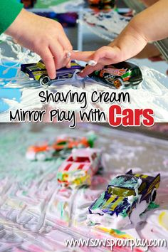 Simple fun with shaving cream and cars on a mirror!