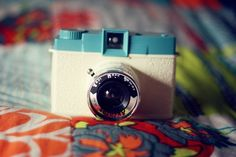 blue and white camera