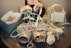 Learn to make handmade wedding decorations. Paper flowers from old books, pearls, vintage, antique.