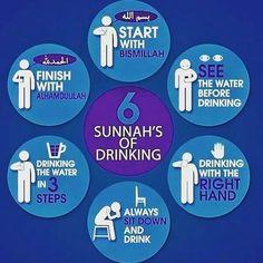 "Sunnah of Drinking Water 1 Recite ""Bismillah ir-Rahman ir-Rahim"" / ""بِسْمِ اللَّهِ الرَّحْمَٰنِ الرَّحِيمِ"" (In the name of Allah , the… Islamic Inspirational Quotes, Islamic Quotes, La Ilaha Illallah, Water Quotes, Water Aesthetic, Islam For Kids, Islamic Teachings, Islamic Prayer"
