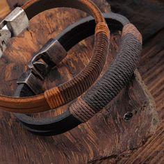 1.52AUD - Surfer Men Vintage Hemp Wrap Leather Wristband Bracelet Cuff Black Brown Jewelry #ebay #Fashion