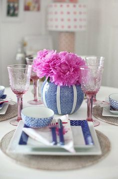 I love how they look when they are paired with beautiful blue and white ceramic pieces | .pink peonies with blue and white