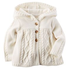 Baby Girl Hooded Chunky Cable-Knit Cardigan | Carters.com