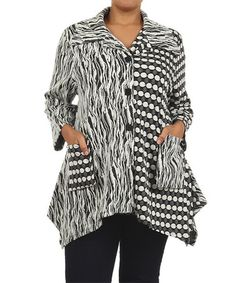 Black & White Abstract Jacket - Plus #zulily #zulilyfinds