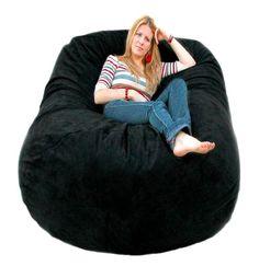 Cozy Sack 6 Feet Bean Bag Chair, Large, Black