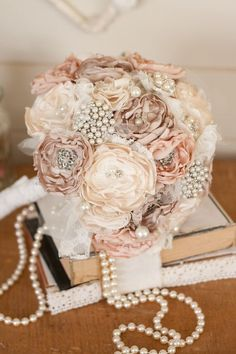 Vintage Inspired Cream and Ivory Satin and Lace Bridal Bouquet. Exactly what I want my wedding bouquet to look like! Broschen Bouquets, Bouqets, Bouquet Flowers, Brotch Bouquet, Bling Bouquet, Bridesmaid Bouquets, Our Wedding, Dream Wedding, Wedding Vintage