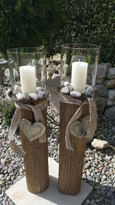 Laterne Holzlaterne Kerze Holzbalken Glas Naturholz Design in Bayern - Waldk . Candle Lanterns, Diy Candles, Candle Sconces, Pillar Candles, L Dk, Wood Design, Diy Home Decor, Candle Holders, Wall Lights