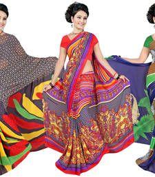 Buy Multicolor printed georgette saree sarees-combo-sari online