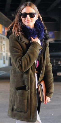 Olivia Palermo, green coat, blue fur scarf, rayban wayfarer, winter, woman fashion, street style