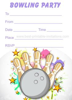 Bowling party invitations - Free printable kids birthday party invites from www.fromtherookery.com