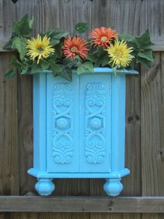 Up Cycled Vintage End Table, Flower Box, Wall Art, Recycled Furniture, DISTRESSED SKY BLUE. $55.00, via Etsy.