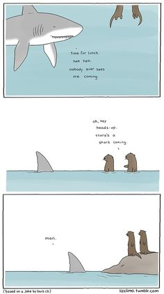 Sneaky Shark Attack: Simpsons Animator Liz Climo Creates Incredibly Cute Animal Comics on Tumblr | Bored Panda (funny laughter quotes songs)