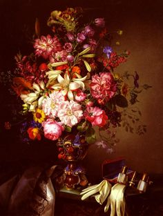 Brunner_Leopold_Still_Life_With_A_Vase_Of_Flower_And_Opera_Glasses