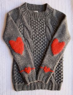 Swiss darning - Duplicate stitch heart elbow patches by One Sheepish Girl