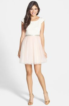 a. drea Embellished Two-Tone Fit & Flare Dress (Juniors) available at #Nordstrom
