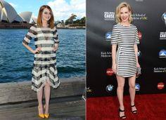 Emma Stone e January Jones escolhem as listras P&B para o tapete vermelho. Veja como cada uma usou a padronagem | Chic - Gloria Kalil: Moda,...