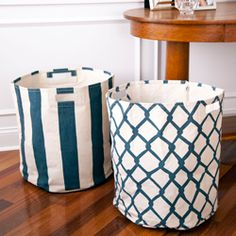 perfect for toy storage in the den- Pehr Canvas Basket (also available in orange, yellow, tan) $60