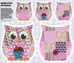 Appliqué Patch Owl Plushies fabric by scrummy on Spoonflower - custom fabric