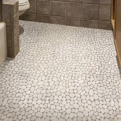 Pebble Tile Random Size Natural Stone Pebble Tile in White Pebble Mosaic Tile, Pebble Floor, Pebble Stone, Mosaic Wall, Stone Tiles, Tile Floor, Glass Tiles, Bathroom Flooring, Bathroom Remodeling