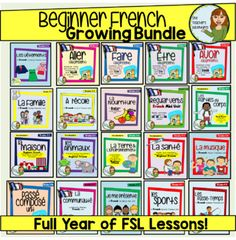 Free Updates for Life! Full Year of Beginner French Lessons! 10 Full Units (This is me! Health and Wellness, School, Food, Sports, Music, Clothing, Hobbies, Family, Community).6 Vocabulary Packs (Christmas, Environment, Homes, Weather, Animals, Technology). Regular Verbs, Passe Compose, Irregular Verbs (Avoir, Etre, Faire, Aller, Sortir, Partir).