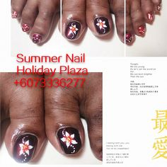 Hand painted flowers classic pedicure. 3D nail art design sample . Summer Nail, Holiday Plaza (McDonald's upstairs 3rd floor)  ☎️+6073336277 WhatsApp +60127242222 Instagram summernail_hp FaceBook Summer Nail Professional Nail Care