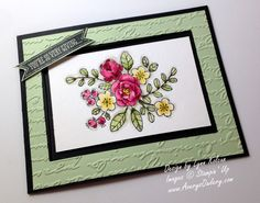 SU! So Very Grateful stamp set (Occasions 2014); Pretty Print embossing folder; watercolored with Aqua Painter on watercolor paper - Lynn Kolcun