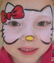 hello kitty party ideas diy | FACE PAINTING - hello kitty full face...id rather bring the bottom black lines down around the mouth and fill the face with more white