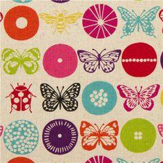 naturfarbener Insekten echino Canvas Stoff insect lila 1