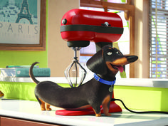 Buddy the dachshund from The Secret Life of Pets.  My little dog Abby has a review of the movie up at our blog!  :-)