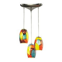 "Elk Lighting Multi-Light Pendant Light 3-Lights; model: 31539/3YW; Surreal Collection; satin nickel/red, yellow glass; $516.00; 10""Wx8""H; chain/cord L 6'; destinationlighting.com"