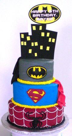 Super Hero Cake - Batman, Superman, & Spiderman  on Cake Central