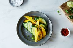 Mango Cucumber Chile Salad recipe: A nice partner for some grilled salmon on a hot summer night. Fruit Recipes, Summer Recipes, Indian Food Recipes, Salad Recipes, Cooking Recipes, Recipies, Salad Bar, Side Salad, Soup And Salad