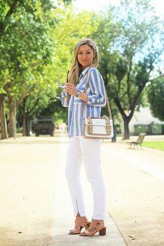 Nestes dias maravilhosos de Sol, uma das minhas cores de eleição é o Branco. Adoro este tom luminoso e que simboliza paz, harmonia, alegria... Pode ser em branco total ou então conjugado com outros tons claros. Look do dia/Outfit. Riscas, branco, white, azul, camel, rosa pastel. Óculos Dolce & Gabbana, relógio Gucci. Zara, River Island. Primavera/Verão 2015. Dicas de Moda e Imagem. Style Statement. Blog de moda portugal, blogues de moda portugueses.