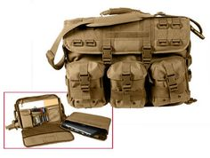 molle tactical computer briefcase coyote brown $89.11 600d polyester. pvc coated lining. 17.5 x 12.25 x 6 adjustable and fully removable padded shoulder straps. large expandable main compartment. interior id pocket. assorted gear pockets and molle loops. three detachable molle pouches on front of bag. zippered map/document pocket with molle loops on back side of case. padded laptop computer sleeve with hook and loop touch fastener closure. Nice Gift