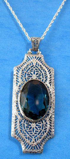 Necklace Filigree Faux Pierced Pendant Alexandrite Victorian Style Rhodium Plated 70s
