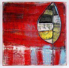 """Single Leaf  Barbara Gilhooly (c) 2011  6 x 6""""  acrylic on birch"""