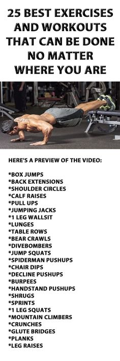25 Exercises And Workouts That Can Be Done No Matter Where You Are. #exercise #bodyweightworkout #workout #fitness #exercisetips