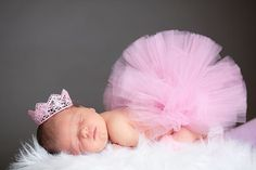 ULTIMATE PRECIOUS tutu set: Super fluffy Newborn tutu (half-filled) photo prop set with Vintage inspired crown collection on Etsy, $30.00