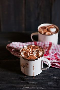 {Hot cocoa with marshmallows.}
