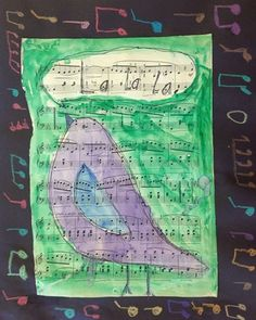 Musical Birds - love that it's painted on sheet music. Could teach a few different bird options.