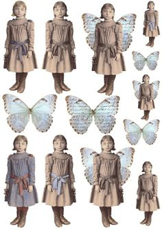 Vintage girl and butterfly wings - free printable