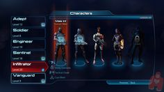 Mass Effect 3 character selection screen